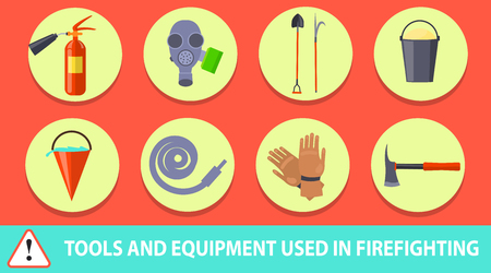 Firefighting Poster Depicting Tools and Equipment