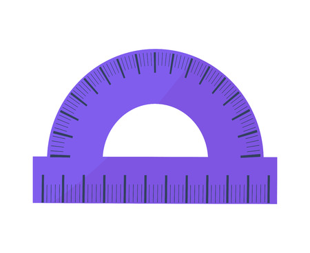 Blue Protractor Vector Illustration Icon Isolated