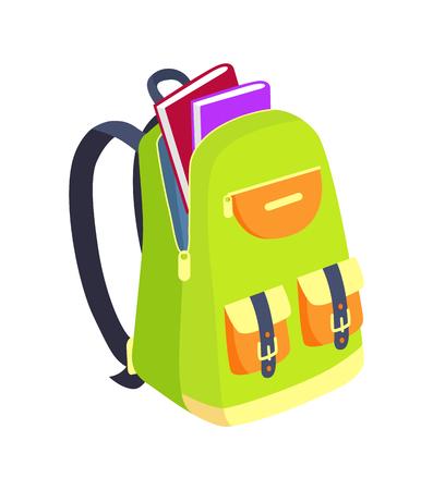 Öffnen Sie Schultasche mit Buch-Seitenansicht-Vektor