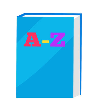 ABC Book in Blue Hard Cover Vector Illustration