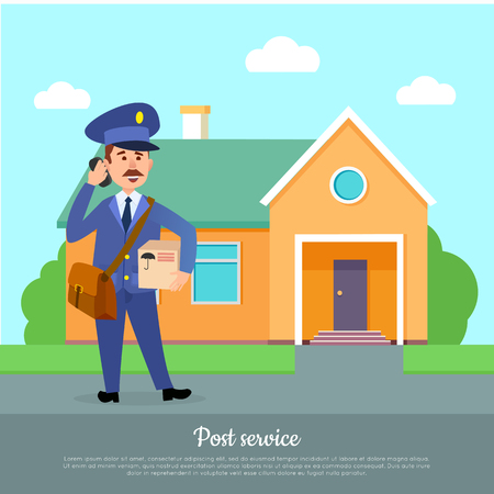 Post Service Web Banner. Courier Delivers Package Illustration
