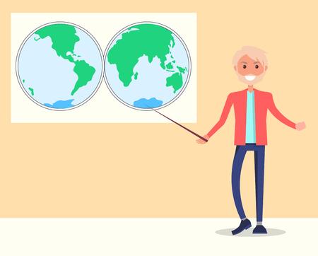 自然科学の笑顔教師スタンドベクトル  イラスト・ベクター素材