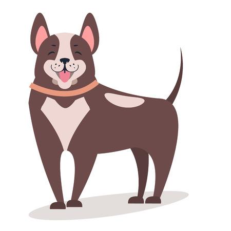 白いベクトルフラットイラストで孤立した笑顔の犬  イラスト・ベクター素材