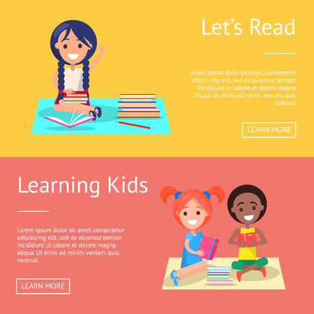 Let Read Learning Kids Banners with Schoolchildren