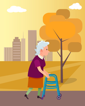 Woman Move with Walkers Help Vector Illustration Vettoriali