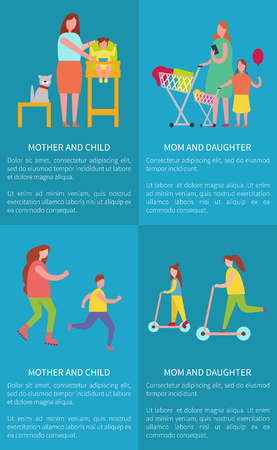 Mom and Daughter, Mother with Child Vector Posters Illustration