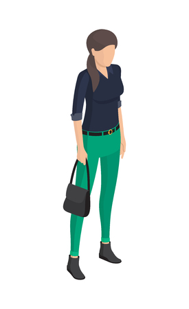 Woman in Green Trousers, Black Blouse, Belt Sack