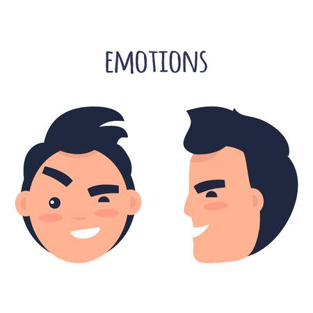 man décrit émotions notion vecteur plat