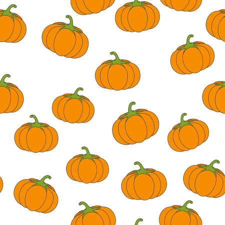 Big pumpkin Flat Vector Seamless Pattern on White