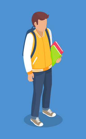 Schoolboy from Secondary School with Backpack Illustration