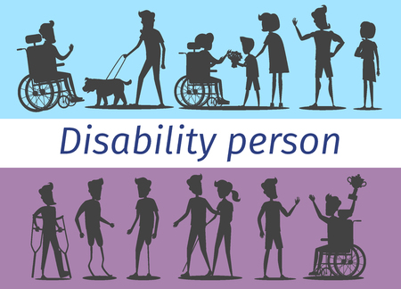 Disability Person Silhouettes Illustrations Set Illustration