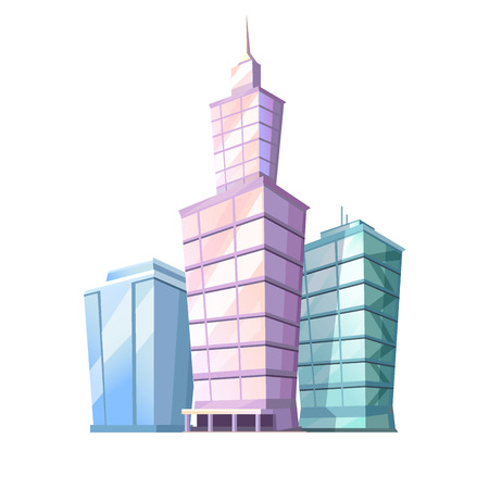 High Cartoon Skyscrapers Isolated Illustration Illustration