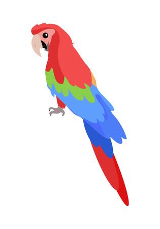 Ara Parrot Cartoon Icon in Flat Design