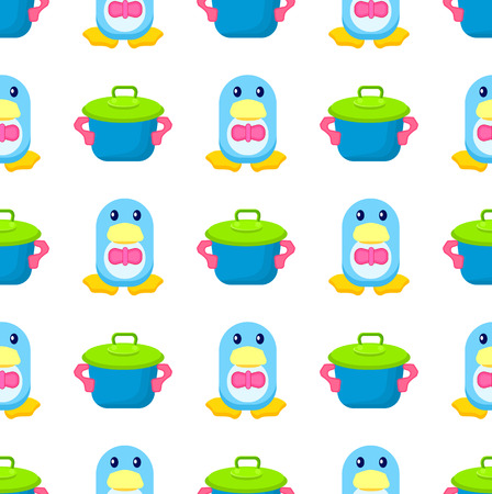Penguin in Bowtie and Toy Pot Seamless Pattern