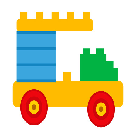 Simple Car Constructor Toy Isolated Illustration
