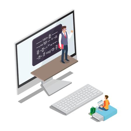 Online Learning Concept Vector with Teacher Pupil Vektorové ilustrace