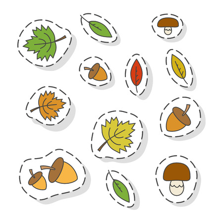 Autumn Forest Elements Flat Vector Stickers Set