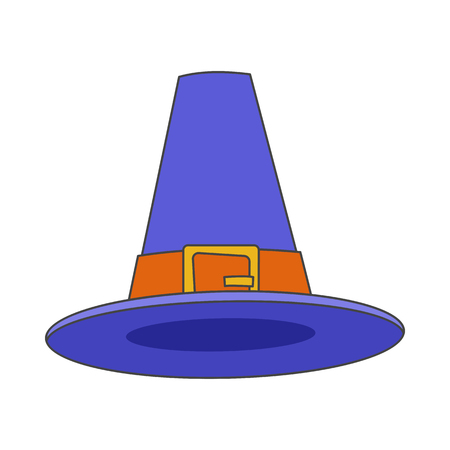 Pilgrim Blue Hat Flat Vector Icon