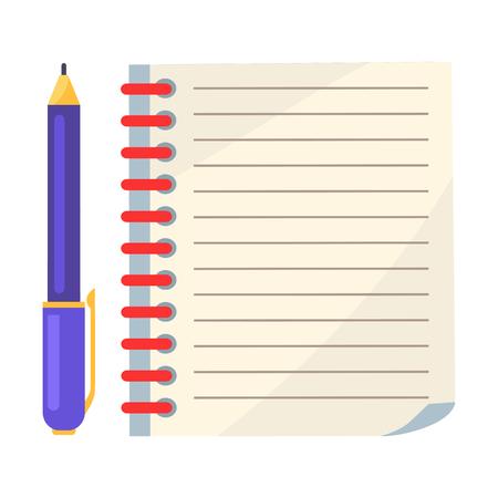 Diário com espiral ou página de caderno e caneta de tinta Foto de archivo - 90490280
