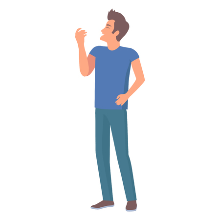 Man in Jeans and Blue T-Shirt Vector Illustration Illustration