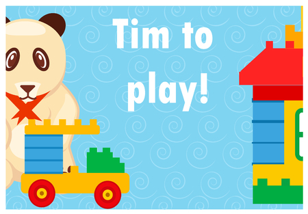Time to Play Colorful Poster with Toys on Blue