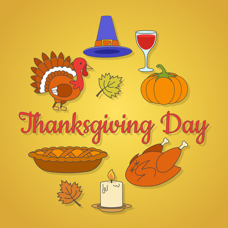 Thanksgiving Day Concept with Holiday Symbols
