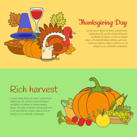 Thanksgiving Day and Rich Harvest Banners Set Illustration