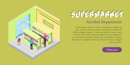Supermarket Alcohol Department Isometric Banner Illustration