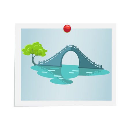 Taiwanese Bridge on Photograph Isolated on White Illustration