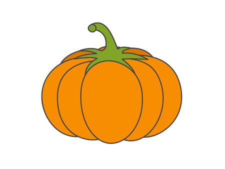 Large Ripe Pumpkin Flat Vector Icon Çizim