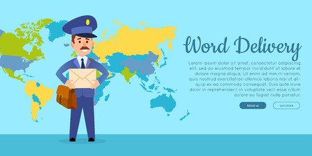 World Delivery Vector Web Banner with Postman