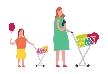 Mother and Daughter Doing Shopping Illustration Illustration