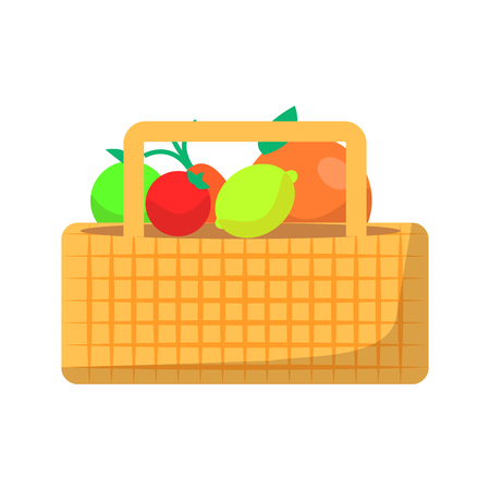 Wicker basket with fruit and vegetables for picnic