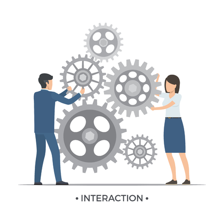 Interaction People and Gears Vector Illustration Çizim