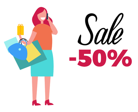 Sale -50 Happy Woman and Bags Vector Illustration