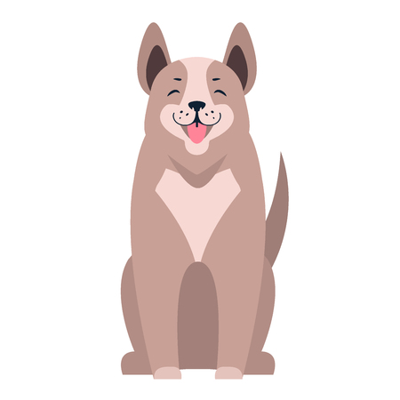 Cute Dog Seating Cartoon Flat Vector Icon