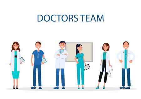 QUipe de médecins enthousiaste offre des soins médicaux plat Banque d'images - 90490357
