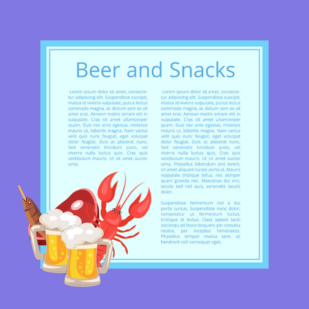 Beer and Snacks Poster with Tasty Refreshment