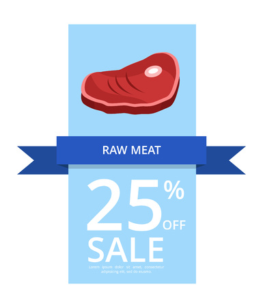 Raw Meat 25 Off Sale Vector Illustration on Blue Stock Vector - 90490406