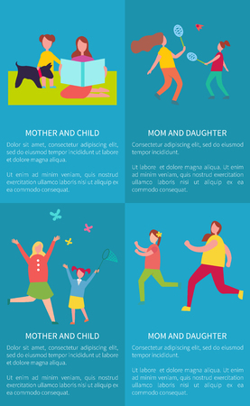 Mom and Daughter, Mother with Child Vector Posters Ilustração