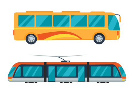 City Bus and Electric Tram Vector Illustration Banco de Imagens - 90490411