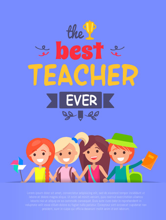 Best Teacher Ever Vector Illustration Light-purple