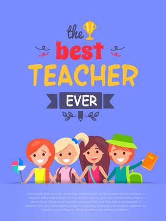 Best Teacher Ever Vector Illustration Light-purple