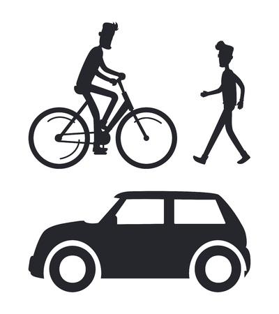 Icons of People with Transport Vector Illustration