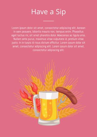 Have Sip Poster with Glass Beer, Grilled Sausage Ilustração
