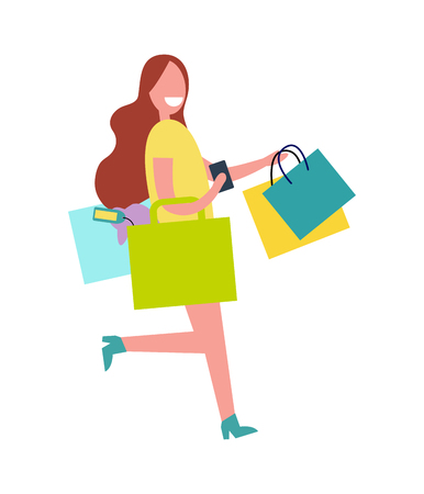 Woman with Colorful Bags Vector Illustration. Illustration
