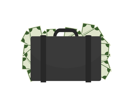 Briefcase Full of Money on Vector Illustration