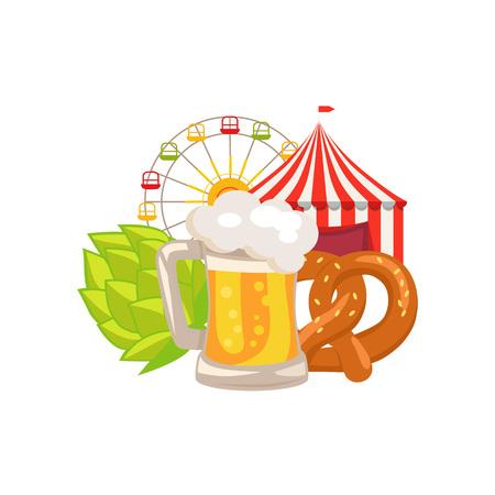 Closeup White Vector Illustration of Beer Food Ilustração