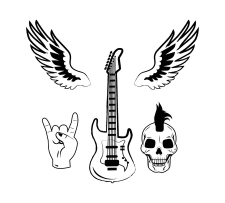Rock n Roll Symbol Electric Guitar Punk Skull Icon Illustration