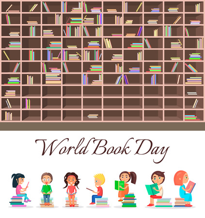 Concept of World Book Day with Big Brown Bookcase Çizim
